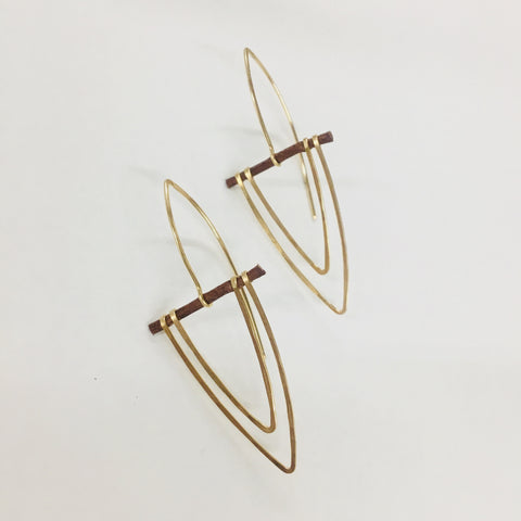 14k gold chevron earrings