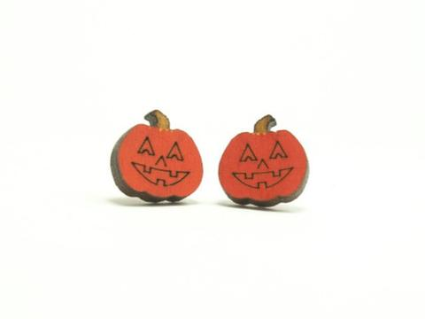 Orange Wood Jack O Latern Earrings