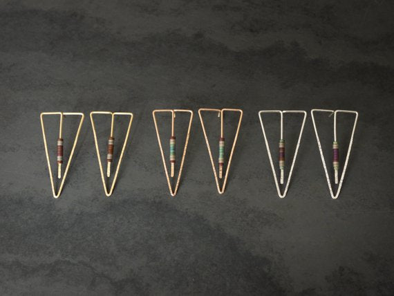 Long Triangle Hammered Post Earrings with Hematite Beads