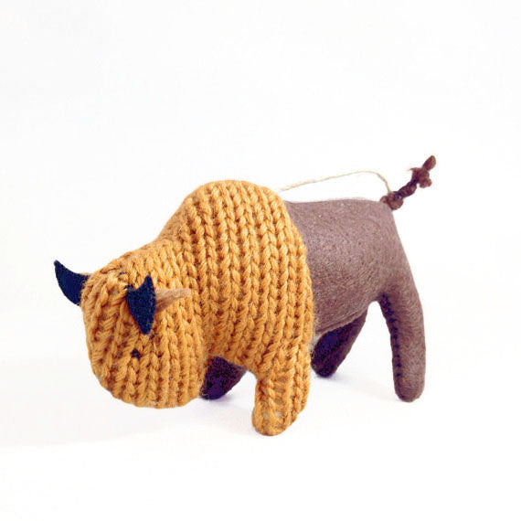 Eco-friendly knit bison ornament
