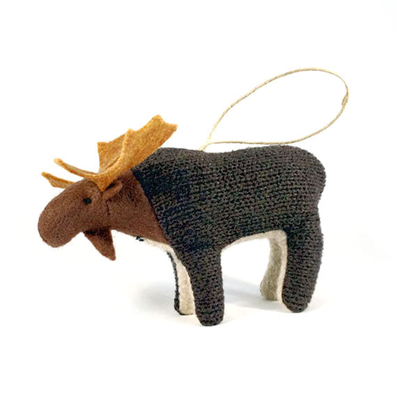 Upcycled Knit Moose Ornament