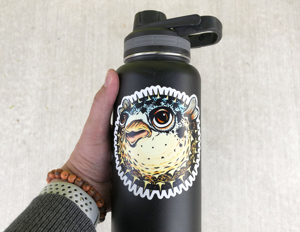 Pufferfish Decal on Waterbottle