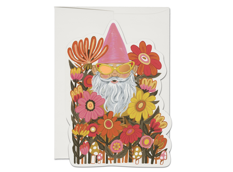 Radical Gnome in Flower Bed Greeting Card