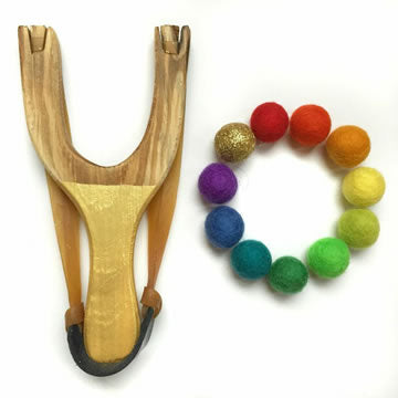Gold Wooden Slingshot Toy With Felt Ball Ammo