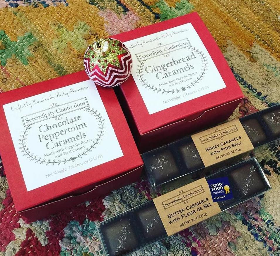 Chocolate Peppermint Caramels in Red Box