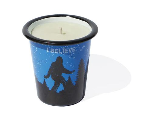 Soy Candle in Enamel Tumbler with Sasquatch