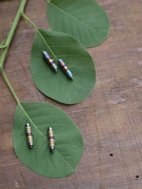 Polished Silver and Hematite Stick Earrings