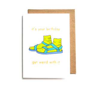 Socks and Sandal Birthday Card