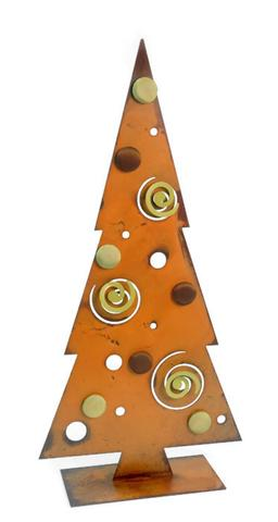 Swirls and dots metal christmas tree decoration
