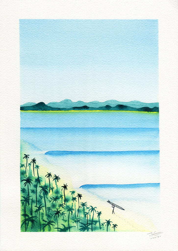 Beach Stroll. Original signed illustration