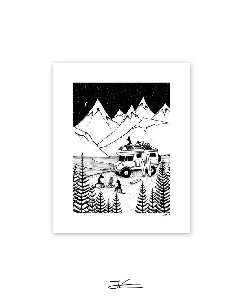 Camping With Dogs - Print/ Framed Print