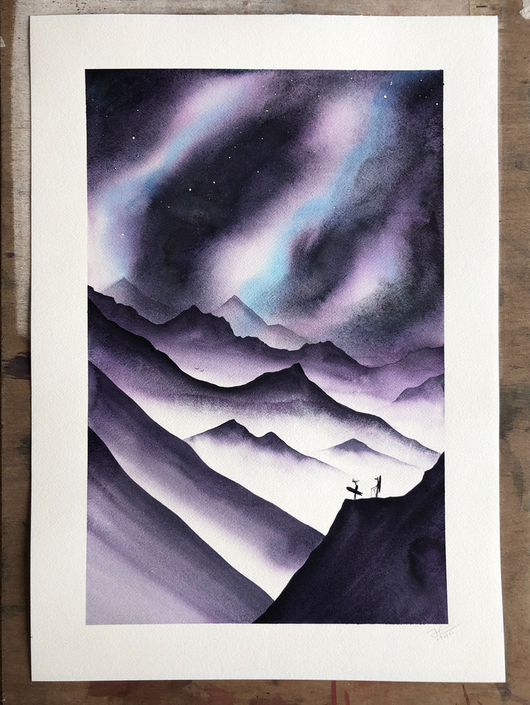 Chasing Powder. Original signed illustration