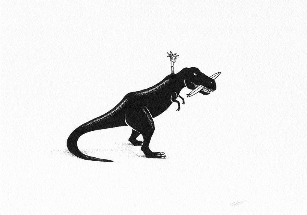 Inktober T-Rex Dinosaur. Original illustration