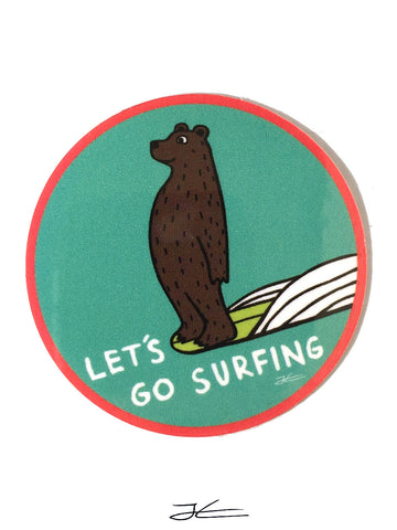 Let's Go Surfing Sticker (4 Stickers)