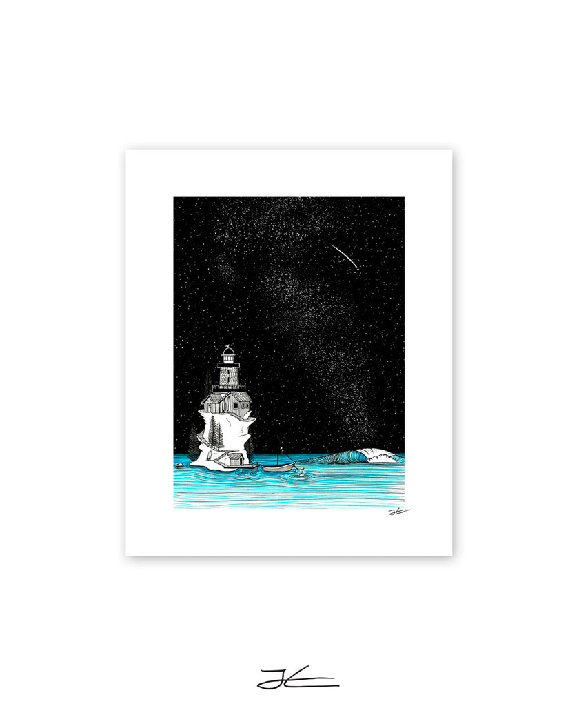 Lighthouse Rights By Night - Print/ Framed Print