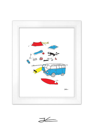Surf Camping Framed Art Print