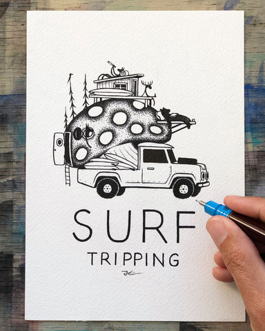 Surf Tripping. Original illustration