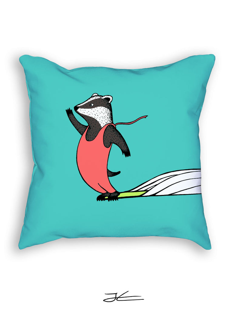 Surfing Badger Pillow