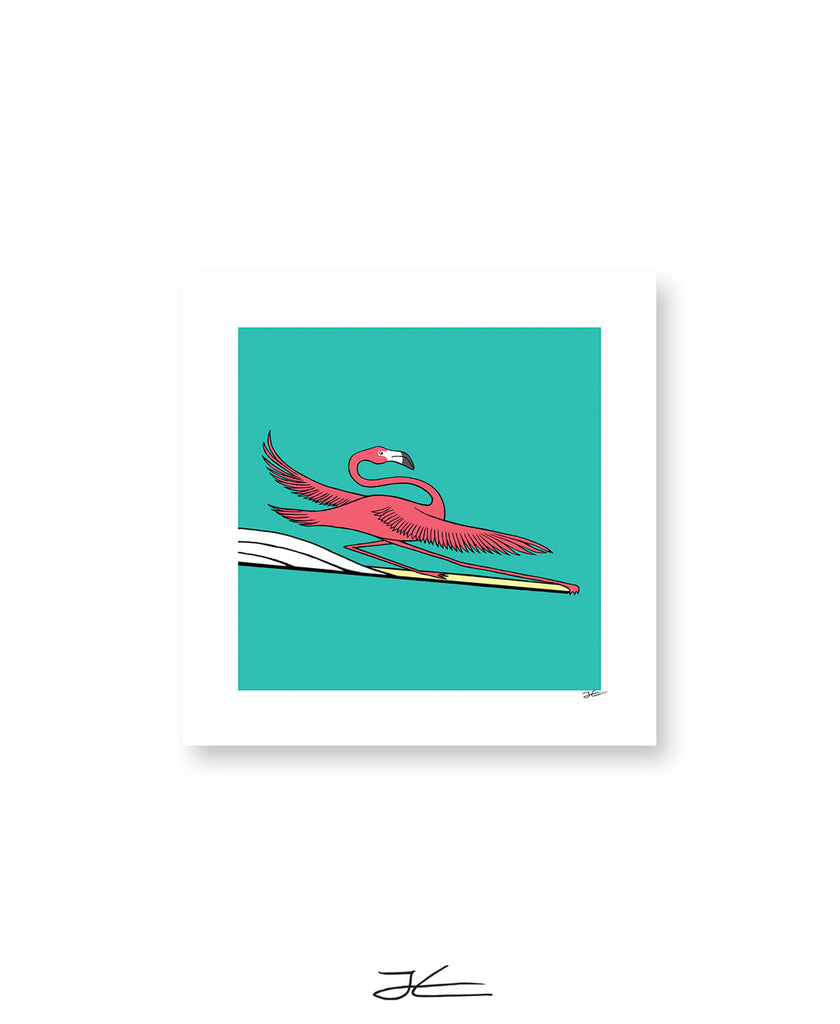 Surfing Flamingo - Print/ Framed Print