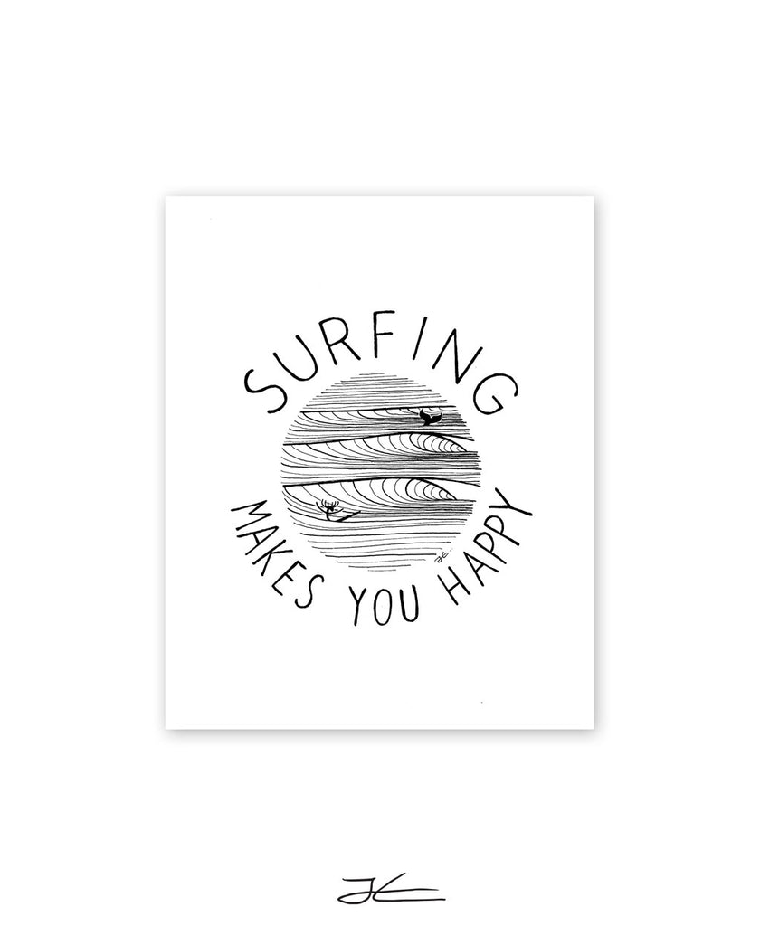 Surfing Makes You Happy - Print/ Framed Print