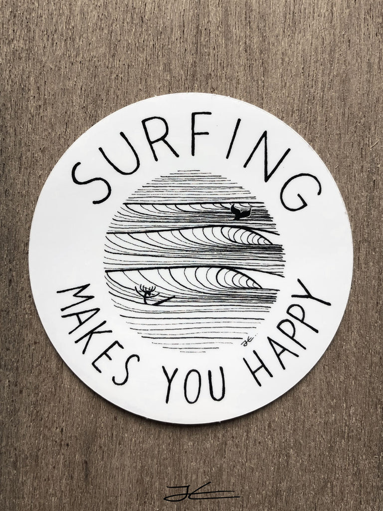 Surfing Makes You Happy Sticker (4 Stickers)
