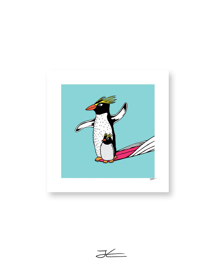 Surfing Penguin - Print/ Framed Print