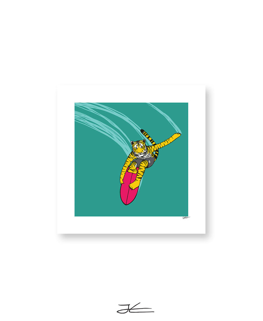 Surfing Tiger - Print/ Framed Print