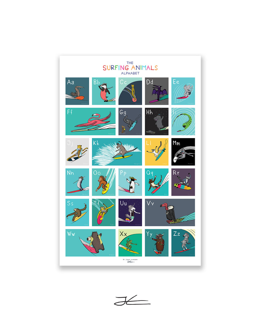 "The Surfing Animals ABC Poster - 24x36"" (61x91cm)"
