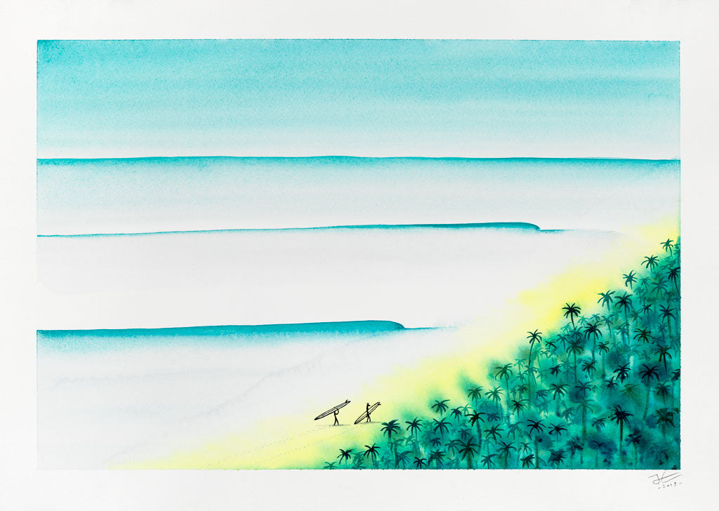 Two Surfers. Original signed illustration