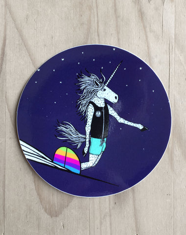 Surfing Unicorn Sticker (3 Stickers)
