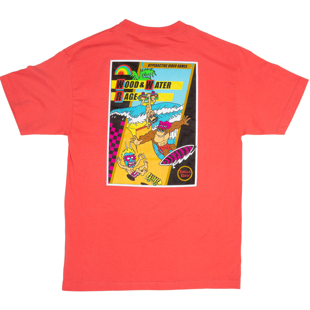 Thrilla Krew NES Wood Water Rage Game Box Cover T-Shirt (CORAL)