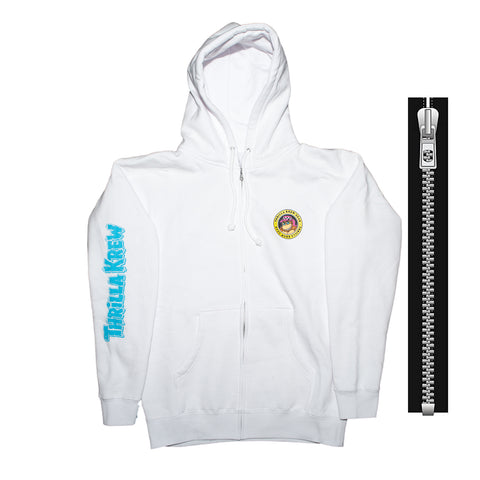 Thrilla Gorilla Checker Shaka Zip Up Hoodie (White)