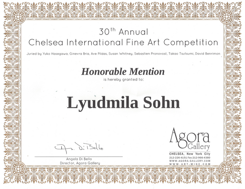 Honorable Mention Certificate from Chelsea International Fine Art Competition