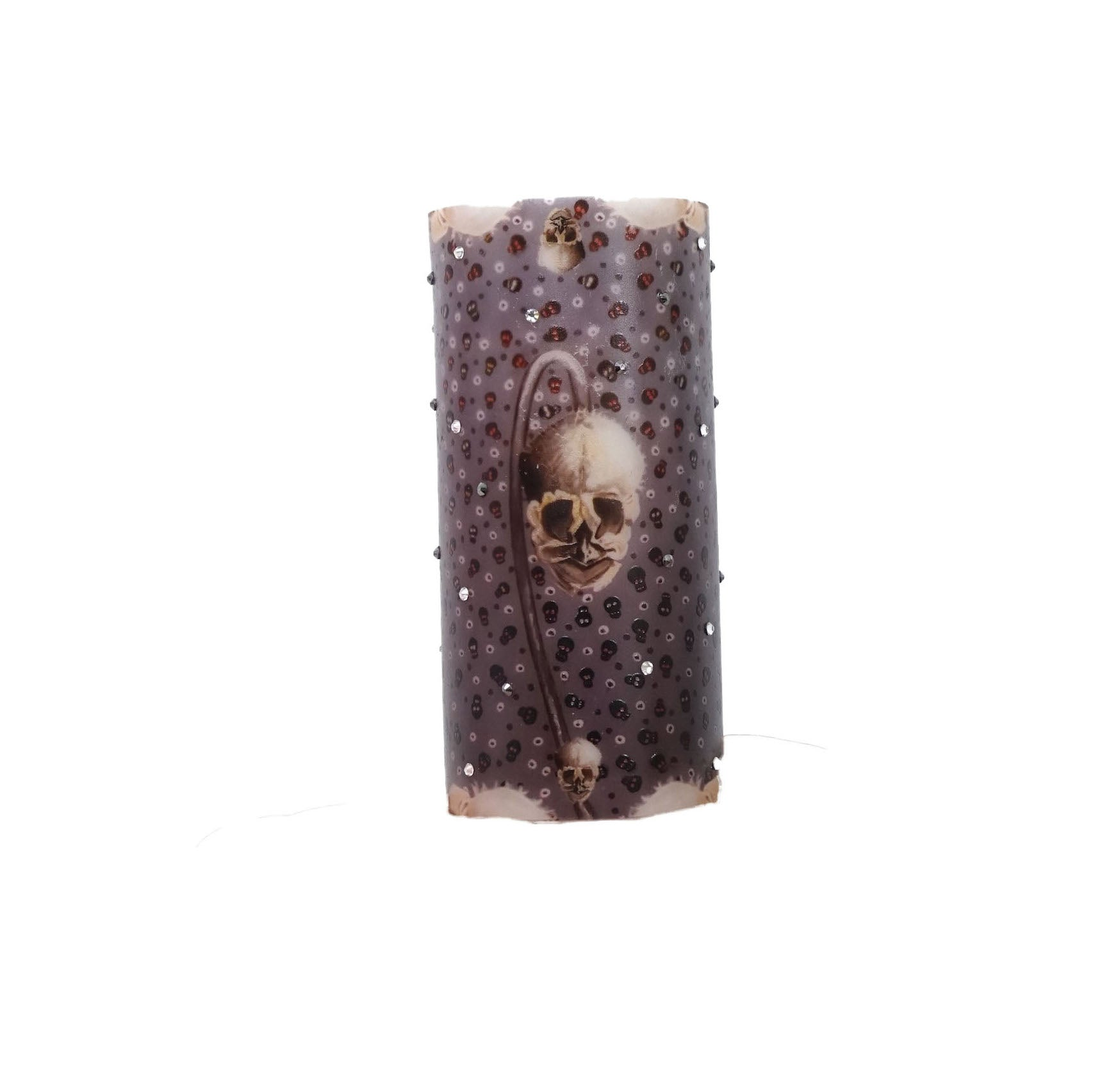 "Swarovski Crystals Skull ""Bare Bones"" Pillar Candle Unscented"