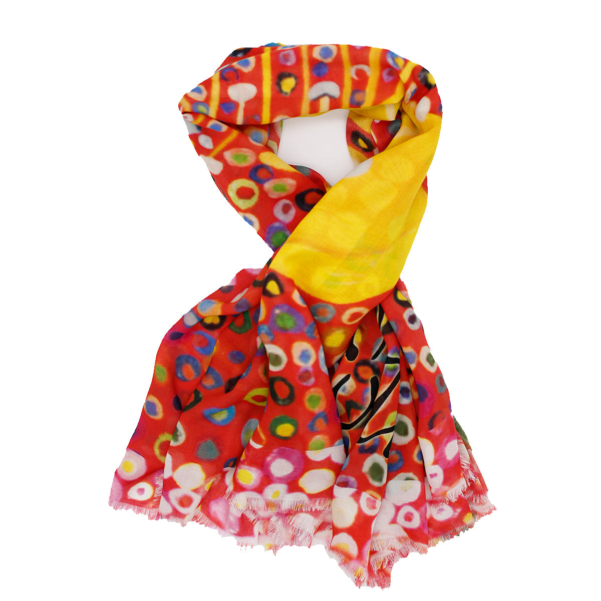 BEND Silk Square Scarf Neckerchief Yellow Hibiscus