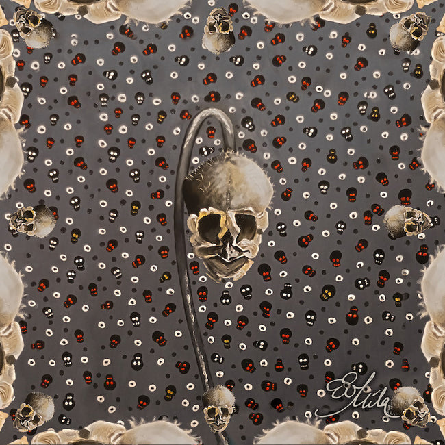 """Bare Bones"" Snapping-Dragon Flower Seed Pod Skull Silk/Wool Scarf (Edgy Steel Gray/Beige Multi)"