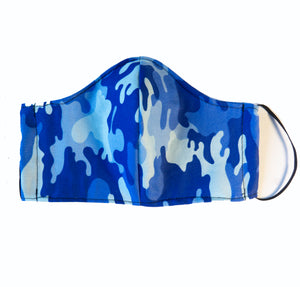 """Blue Haze"" Fashion Cotton Camo Face Mask With Filter (ADULT)"