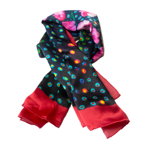 CHERISHED Deep Navy/Cotton Candy Pink Fairytale Silk Satin Scarf
