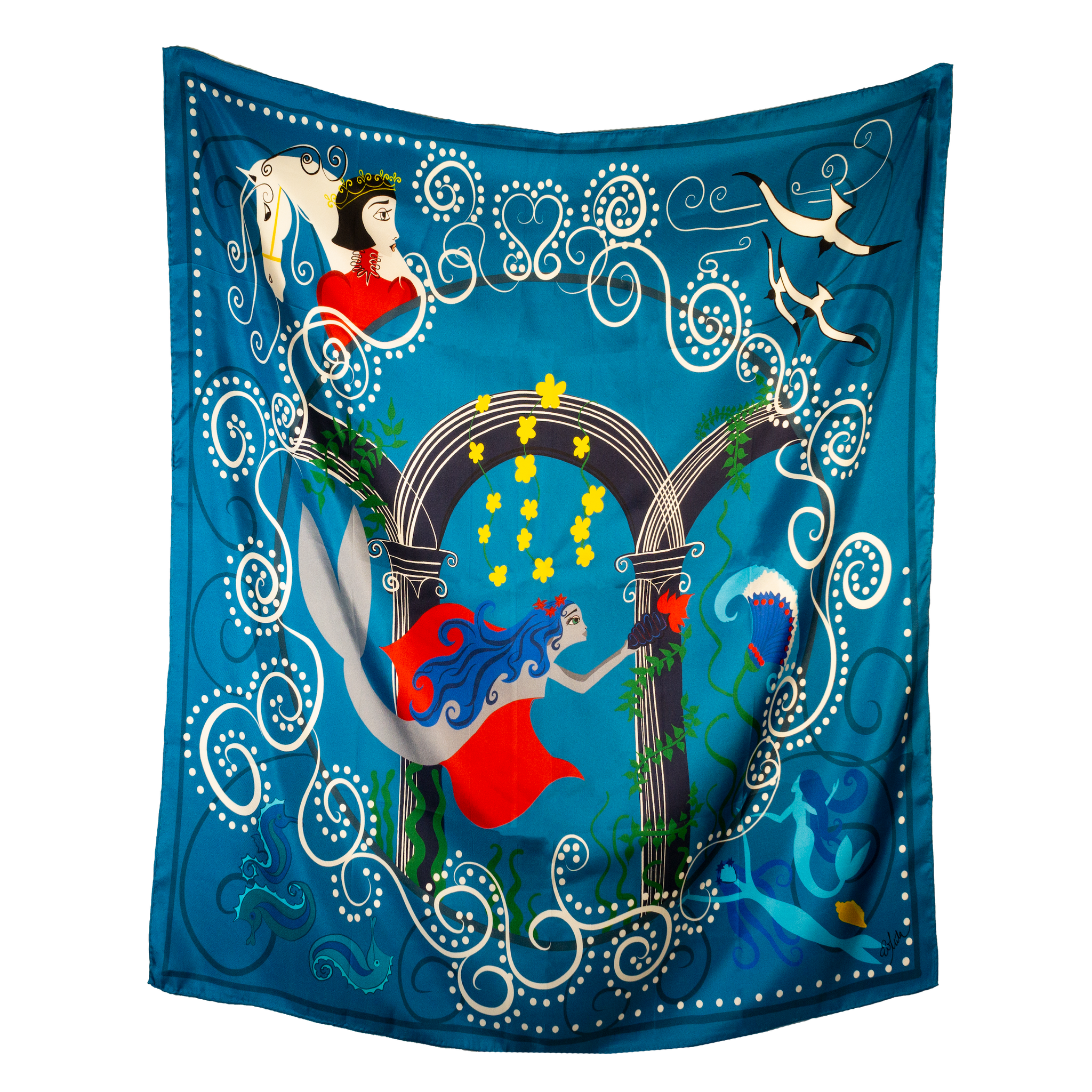 DELUGE Mermaid Fairytale Silk Twill Scarf