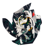 HUSH Charcoal Black/City Snow White Fairytale Silk Twill Scarf