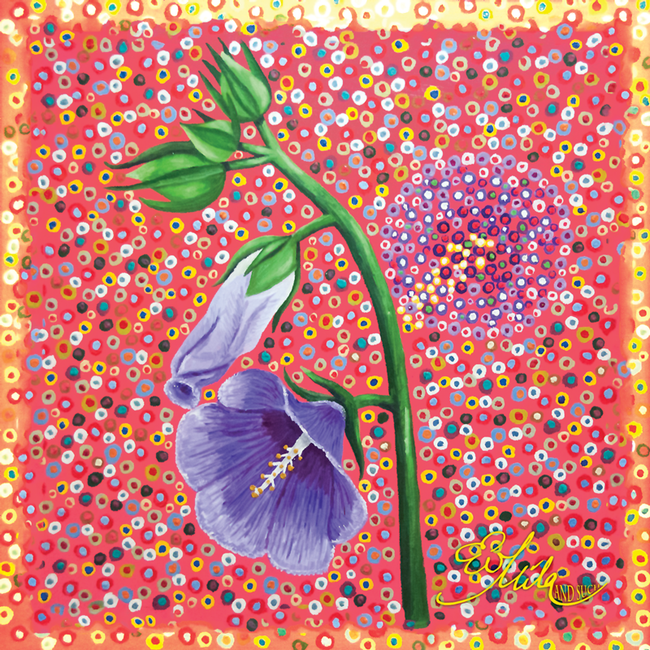 """Foresee""  Canterbury Bell Flower Silk Scarf (Warm Peach/Blue Ultra Violet Multi)"
