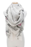 INSPIRE Silk Square Scarf Shawl Logo Design (Charcoal/Cloud Grey/Hot Mama Pink)