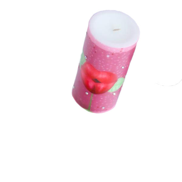 Swarovski Crystals Pillar Candle KISS ME Unscented
