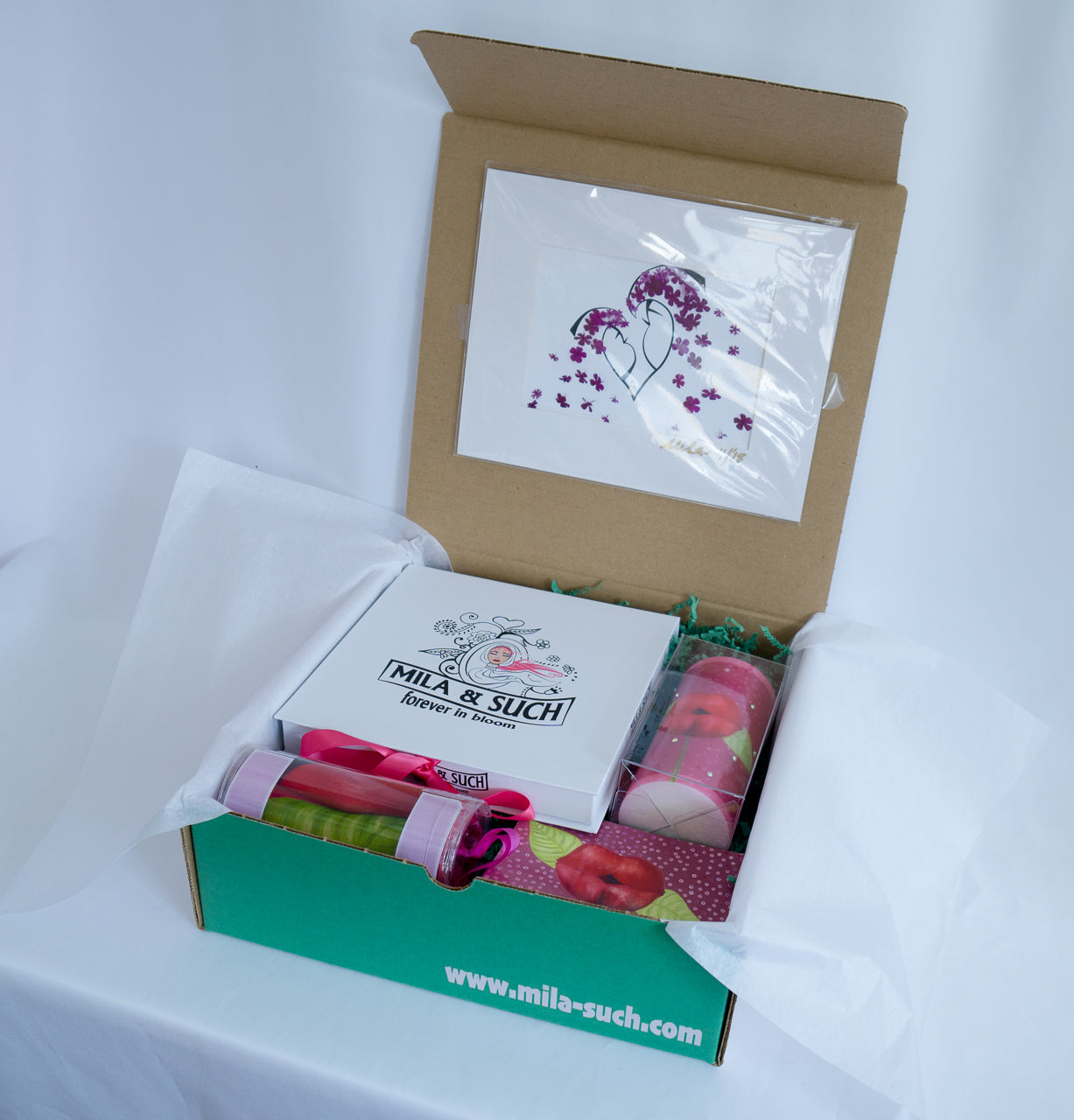 KISS ME MAGNIFICENT BOX Gift Set For Her Scarf Candle Print MilaSuch