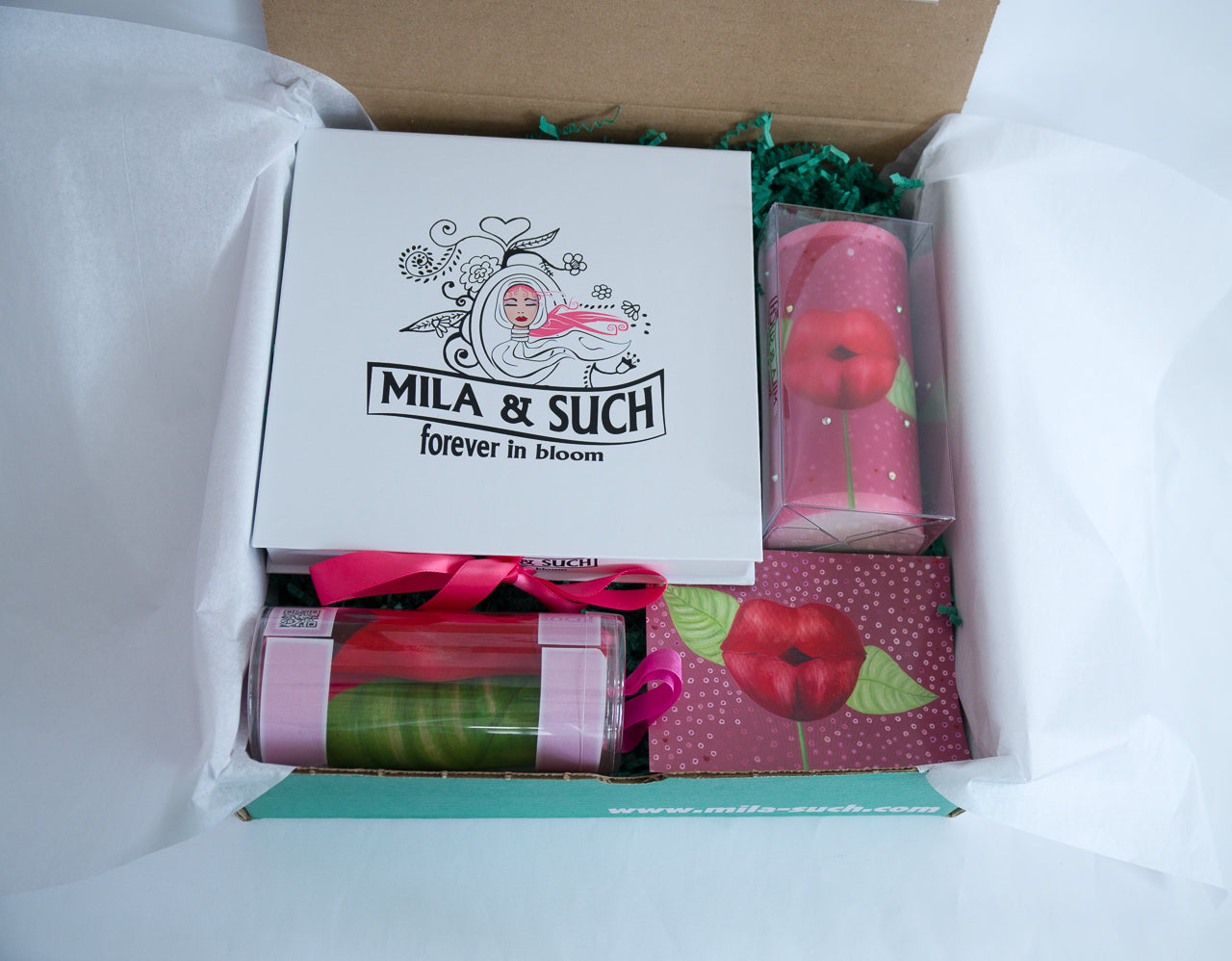 KISS ME MAGNIFICENT BOX Mother's Day Gift Set For Her Scarf, Candle, Print