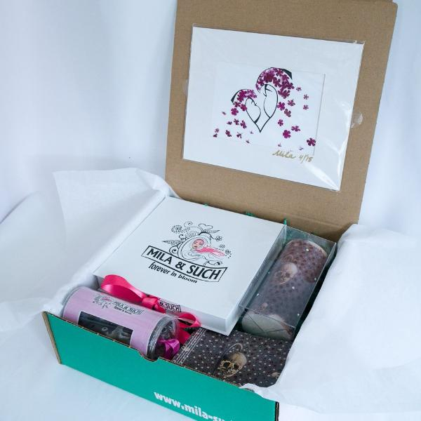 BARE BONES MAGNIFICENT BOX Gift Set For Her Scarf, Candle, Print