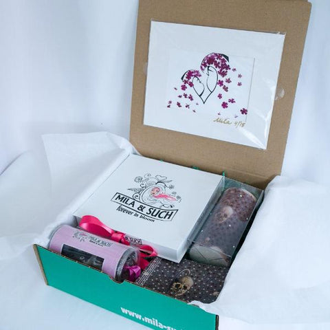 KISS ME LOVELY BOX Mother's Day Gift Set For Her Scarf, Candle, Print