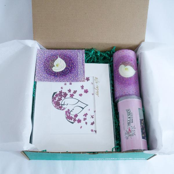 FLOAT LOVELY BOX Gift Set For Her Scarf, Candle, Print