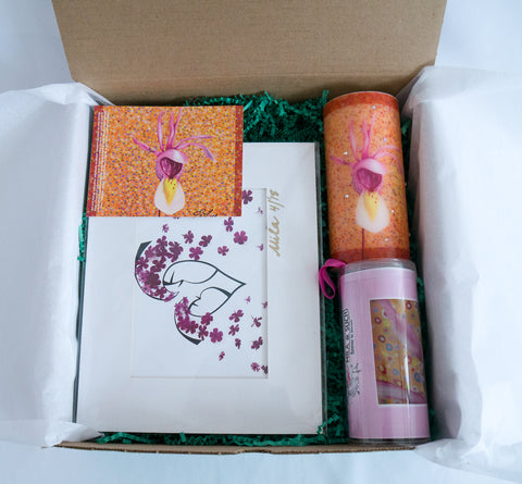 HUGS & KISSES LOVELY BOX Gift Set For Her Scarf, Candle, Print