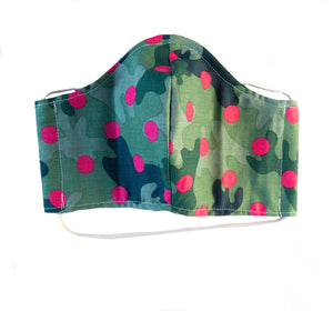 """Green Camo Pink Polka"" Fashion Cotton Face Mask (ADULT)"